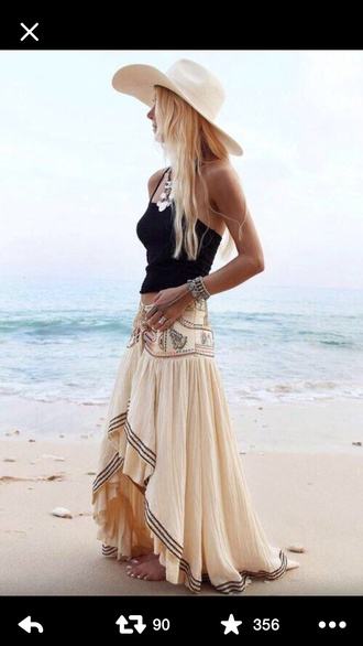 skirt long skirt nude western boho chic