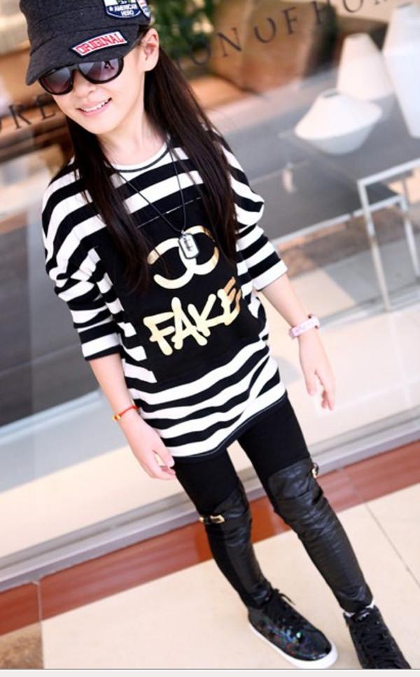 t-shirt kids cc fake shirt top kids fashion stripes cute girly blouse trendy childrens