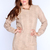 Beige Open Knitted Long Sleeves Dressy Sweater Dress