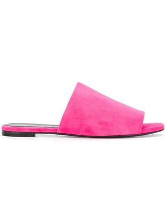 women mules leather suede purple pink shoes