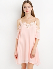 dress,pink chiffon lace pleated off the shoulder dress by new revival,cute dress,pink dress,chiffon dress,babydoll dress,off the shoulder dress,pastel pink dress,pleated off the shoulder dress,special occasion dress,lauren conrad,scalloped,off the shoulder,bridesmaid