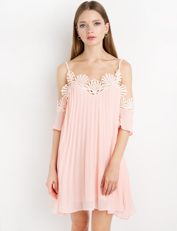 dress pink chiffon lace pleated off the shoulder dress by new revival cute dress pink dress chiffon dress babydoll dress off the shoulder dress pastel pink dress pleated off the shoulder dress special occasion dress lauren conrad scalloped off the shoulder bridesmaid