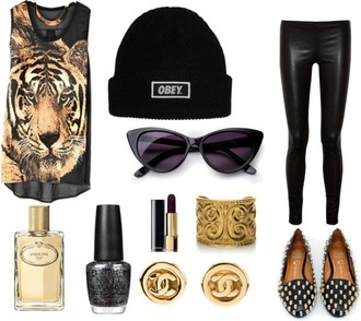 shirt outfit tiger obey leather leggings studded loafers flats chanel dark lipstick cat eye sunglasses jewels smoking slippers shoes