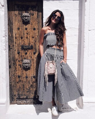 skirt printed top printed skirt tumblr maxi skirt gingham top crop tops matching set bag fringes sunglasses spring outfits spring skirt sneakers white sneakers gingham skirt shoes