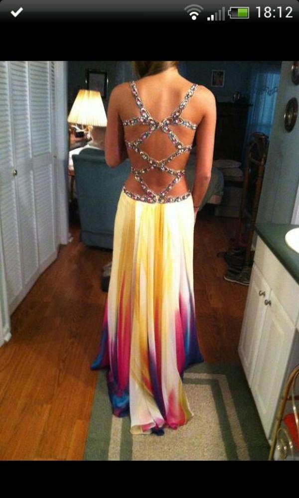 dress long dress colorful jewels