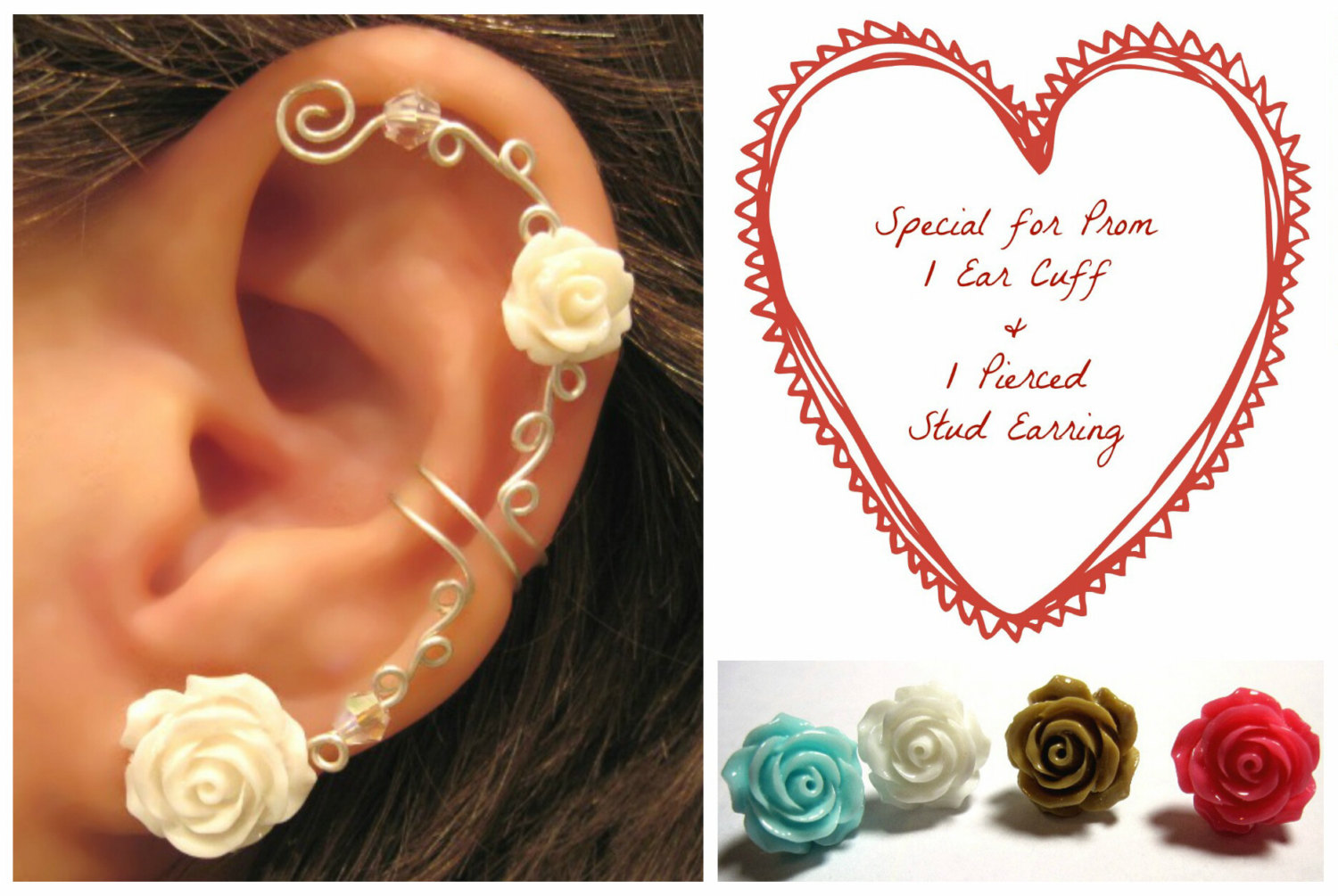 Special for prom 1 cartilage ear cuff & 1 matching pierced stud rose earring wedding prom bridal