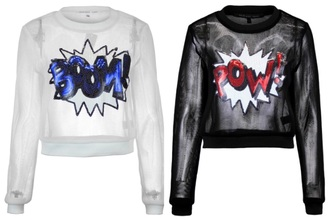 pop art black sweater white sweater