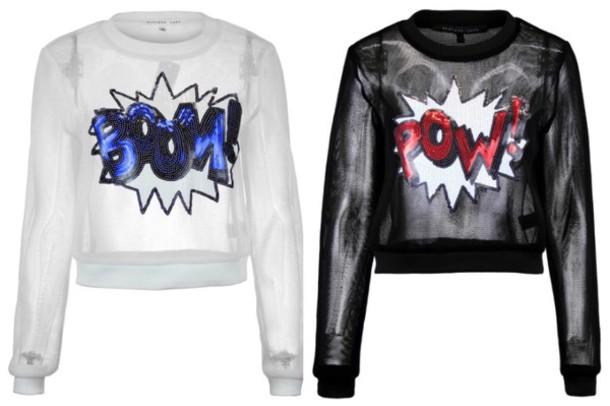 pop art black sweater white sweater shirt