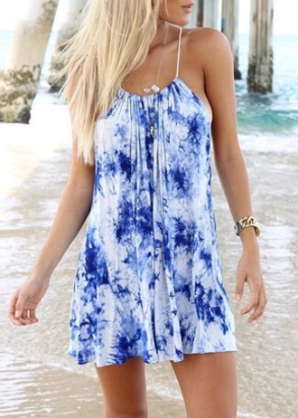 dress blue summer tie dye beach trendy cool hot fashion style rose wholesale-jan