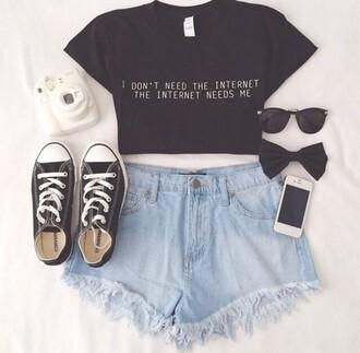 top crop tops printed shirt shorts denim shorts shoes sunglasses distressed shorts two-piece bows converse polaroid camera camera