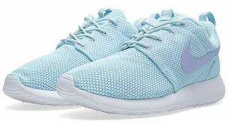 shoes nike roshe run glacier purple shoes light blue cute authentics nike nike running shoes light blue nike roshe runs  with purple tick
