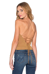 top,knit tank top,open back,cross back,lace up back,knit halter tank to,halter top,lurex