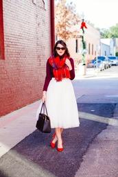 kendi everyday,blogger,scarf,sunglasses,jewels,tulle skirt,red heels,white skirt,handbag,skirt,shoes,bag