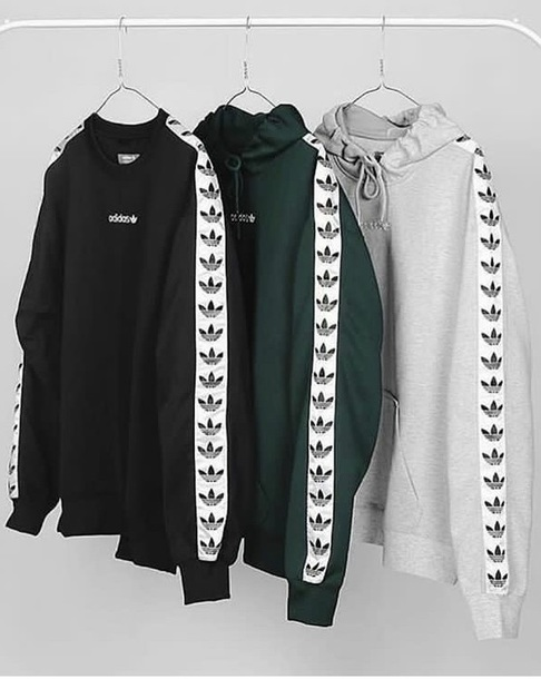 sweater, black white green, adidas, adidas hoodie, 90s ...