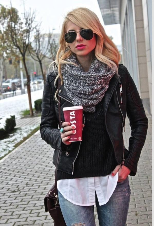 scarf jacket lether black girl clothes