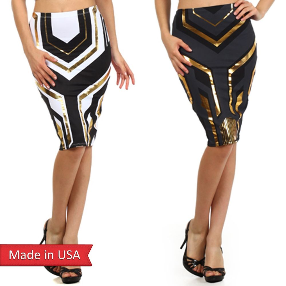 Sexy Egyptian Egypt Princess Gold Foil Print Black White Fitted Pencil Skirt USA