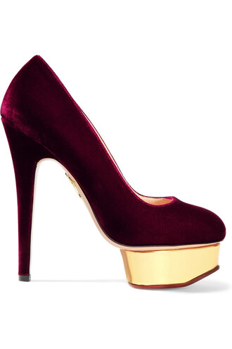 pumps velvet gold burgundy shoes