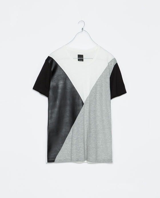 6af87487 Brand New Zara Man Black Patched Leather T Shirt Balmain YS L ...