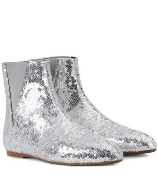 Loewe Sequined ankle boots in silver