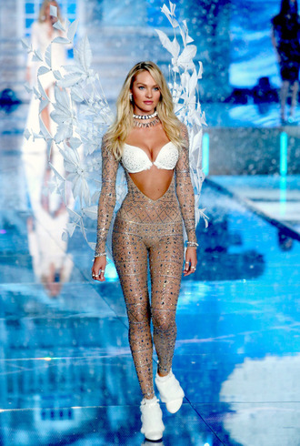 jumpsuit candice swanepoel crystal tights glitter