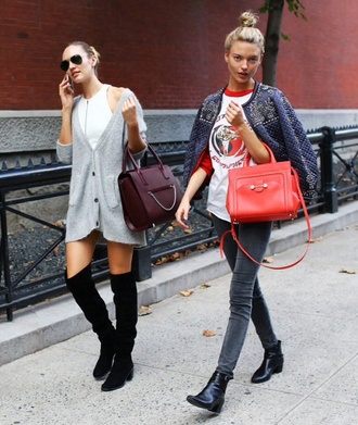 model top cardigan dress candice swanepoel jeans shoes over knee high boots black shoes sunglasses bag