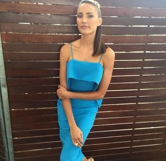 dress rachael finch model blue blue dress silk