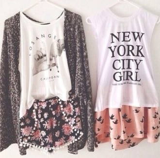 blouse new york city skater skirt pastel muscle tee oversized cardigan los angeles top bird skirt summer outfits hipster pastel grunge shorts