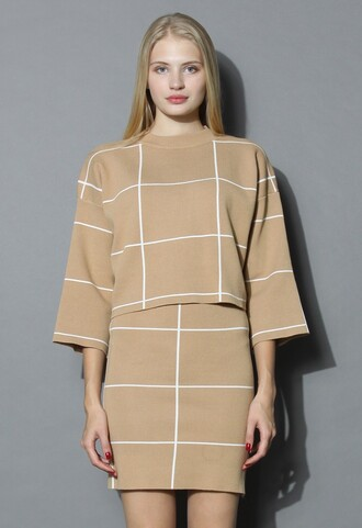 top grid print knitted crop top and skirt set in tan chicwish top and skirt set tan chic