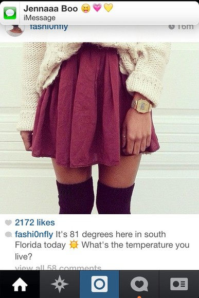 burgundy skirt red skirt sweater