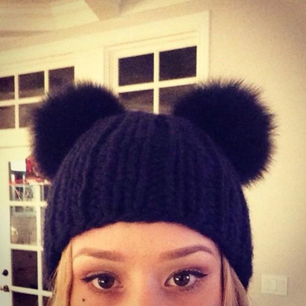warm beanie iggy azalea girly black hat hair accessory