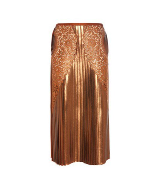 Stella McCartney Lace And Lamé Skirt in brown