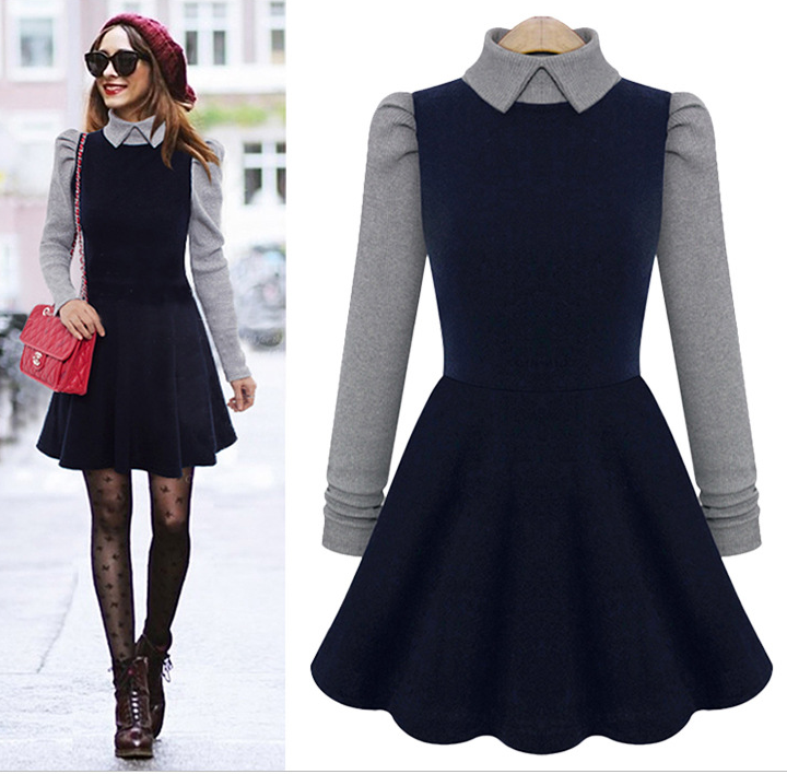 Cute long sleeved fashion hot dress high quality