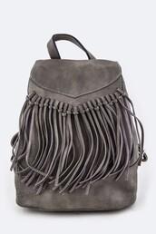 bag,grey,sage,fringes,backpack