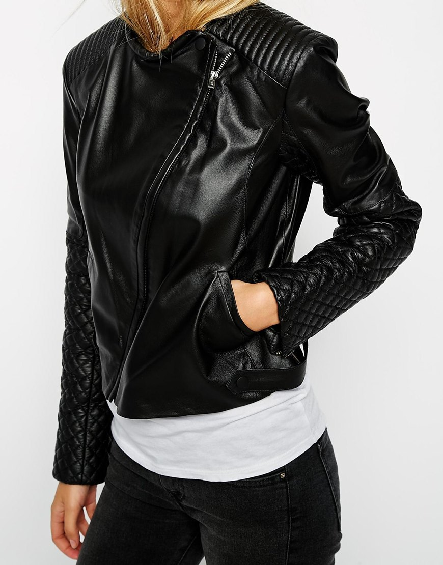 ASOS Leather Asymmetric Mixed Quilted Biker at asos.com