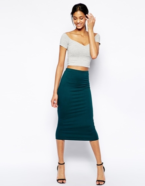 ASOS | ASOS Pencil Skirt In Double Layered Jersey at ASOS