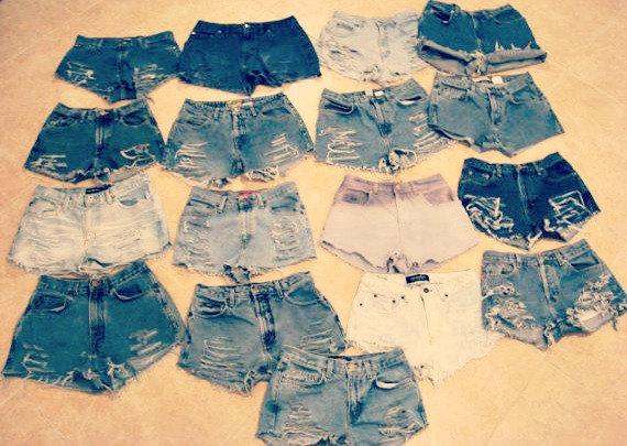 High waisted denim shorts custom made denim jean by shortyshorts