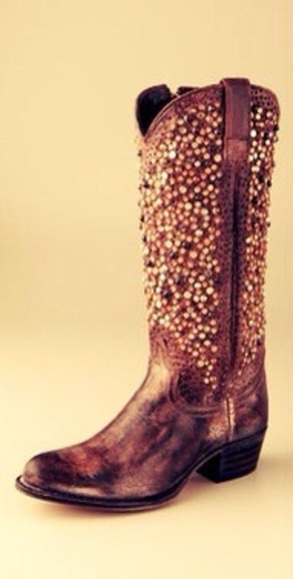 Shoes: boots, cowboy boots, sparkle, girly, brown, fall outfits ...