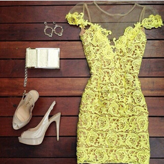 crochet dress mesh mesh dress flowers mini dress lace dress cute dress floral v neck handmade sleeveless jewels earrings yellow midi dress gold little bag heels shiny heels dress yellow dress yellow yellow summer dress dress night wedding clothes floral dress lace