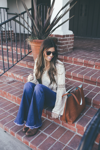 mint arrow blogger top shoes sunglasses bag flare jeans brown boots brown bag fall outfits tote bag
