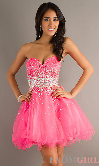 Strapless Beaded Party Dress, Mori Lee Short Prom Dress- PromGirl