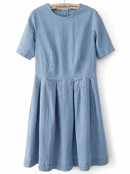 Blue Short Sleeve Ripped Pleated Denim Dress for HPL - Dmsdress.com