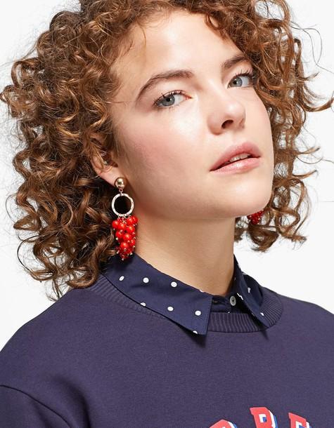 Stradivarius earrings red jewels