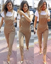 dress,pantsuit,kylie jenner,beige,white shirt,romper,pants,brown jumpsuit,jumpsuit