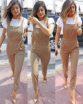 dress pantsuit kylie jenner beige white shirt romper pants brown jumpsuit jumpsuit