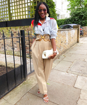 pants,beige pants,top,shirt,shoes,bag