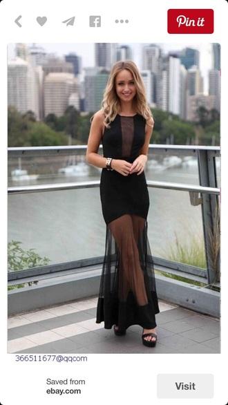 dress long dress black dress little black dress sheer mesh pretty maxi dress maxi