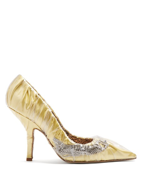PACIOTTI BY MIDNIGHT embellished satin yellow shoes