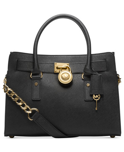 MICHAEL KORS Hamilton E / W Tote BLACK SAFFIANO LEATHER SATCHEL ...