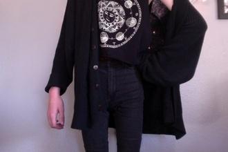 shirt sun moon stars astrology black white sweater symbols cardigan