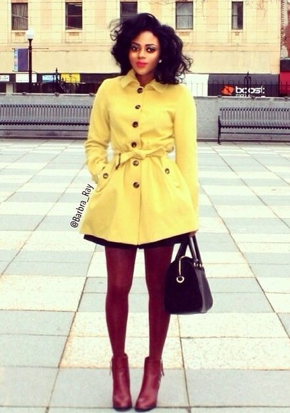 coat yellow trench coat winter coat coat with belt yellow